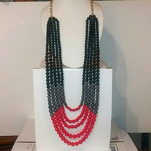 Beaded Necklace. Black Gray Red gold tone. Nwt